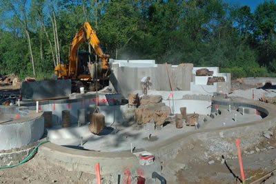 Lincolnshire Illinois Concrete waterfall substructures in place