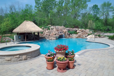 Lincolnshire Illinois Finished Pool with Waterfall Water Feature